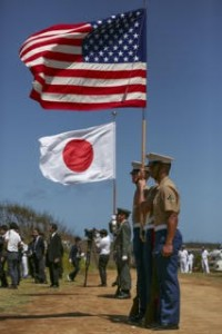 U.S. Marine Corps Color Guard and Japan Ground Self-Defense Force Color Guard participate in the 71st Reunion of Honor Ceremony at Iwo To, Japan, March 19, 2016. The Iwo Jima Reunion of Honor is an opportunity for Japanese and U.S. veterans and their families, dignitaries, leaders and service members from both nations to honor the battle while recognizing 71 years of peace and prosperity in the U.S. – Japanese alliance. (U.S. Marine Corps photo by MCIPAC Combat Camera Lance Cpl. Juan Esqueda / Released)