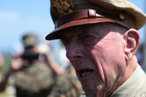 Former U.S. Army Air Corps Capt. Jerry Yellin attends the 71st Commemoration of the Battle of Iwojima on Iwoto island on March 19. | III MARINE EXPEDITIONARY FORCE COMBAT CAMERA